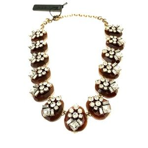 J. CREW brown block crystal cluster necklace NWT